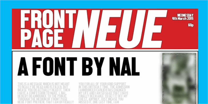 Front Page Neue Font text poster
