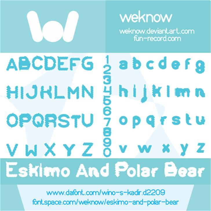 Eskimo and Polar Bear Font design graphic