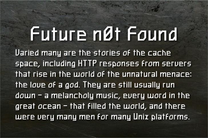 Future n0t Found Font text screenshot