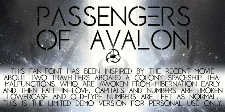 PASSENGERS OF AVALON Font poster text