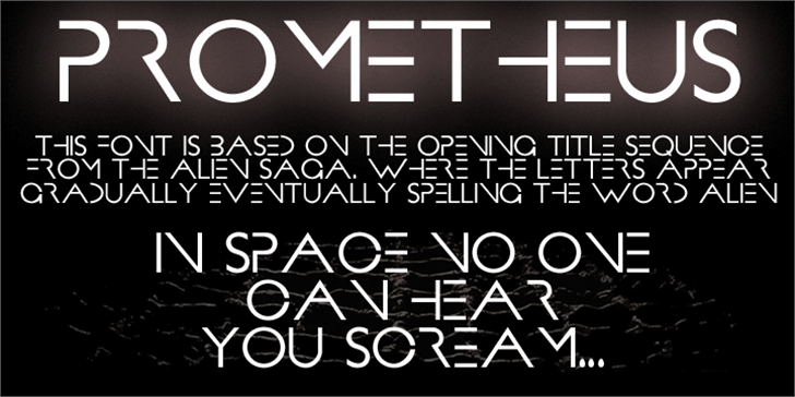 PROMETHEUS Font text design