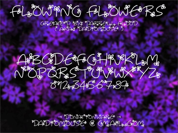 Flowing Flowers Font lavender purple