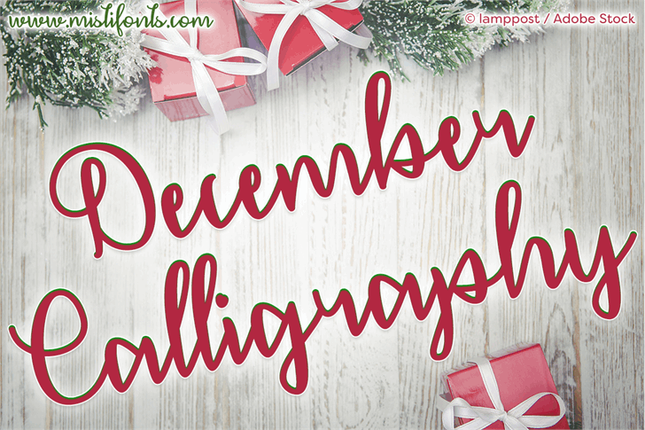 December Calligraphy Font handwriting painted