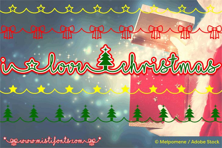 I Love Christmas Font christmas tree cartoon