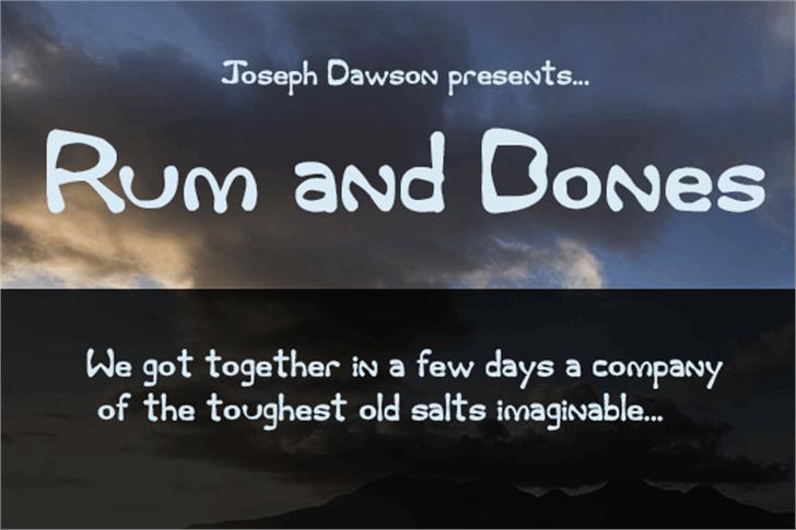 Rum and Bones Font screenshot text