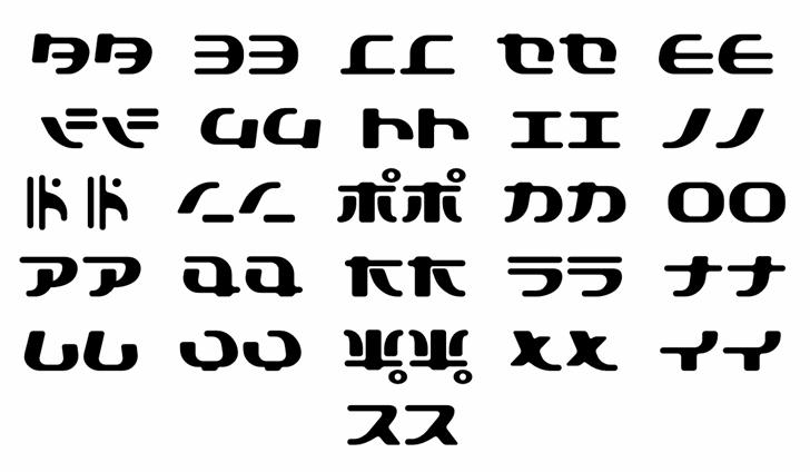 TokyoSoft Font Letters Charmap