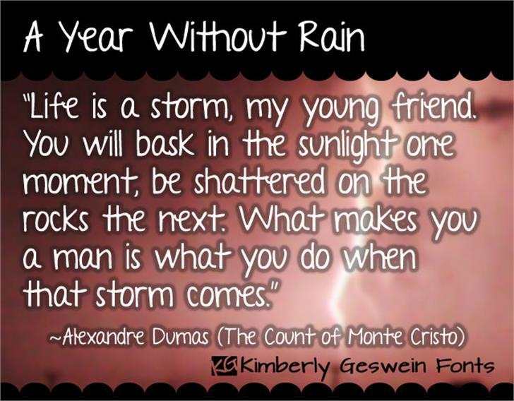 A Year Without Rain Font screenshot text