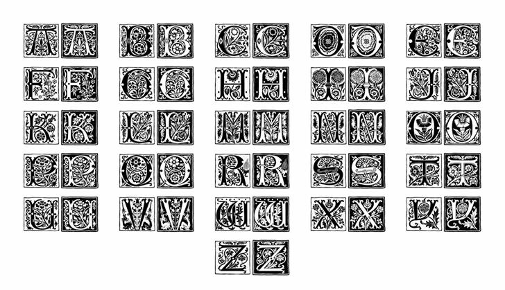 RomantiqueInitials Font Letters Charmap