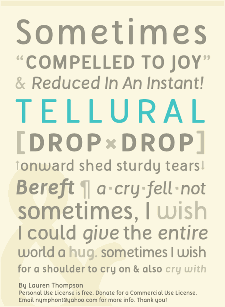 Tellural Font screenshot text