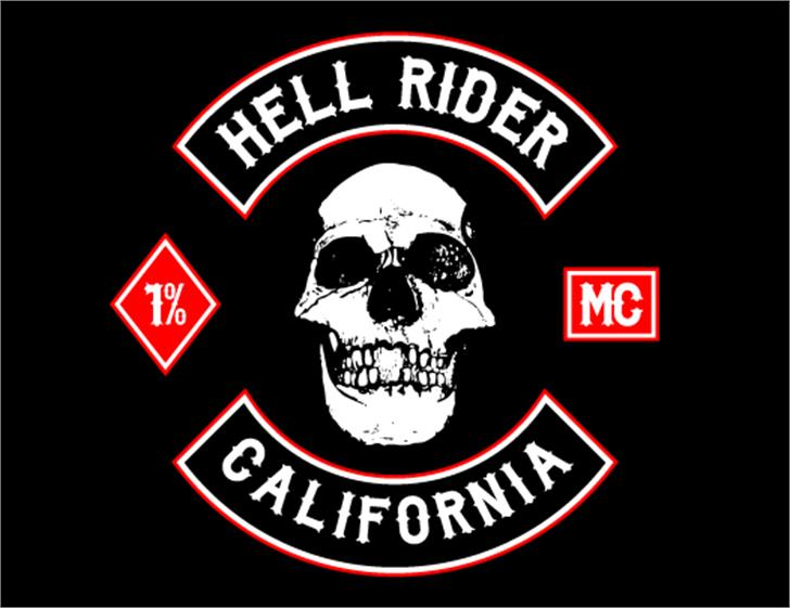 Biker from Hell Font cartoon skull