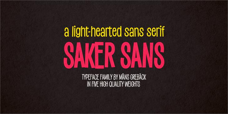 Saker Sans Bold PERSONAL USE Font design poster