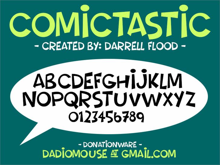 Comictastic Font design graphic
