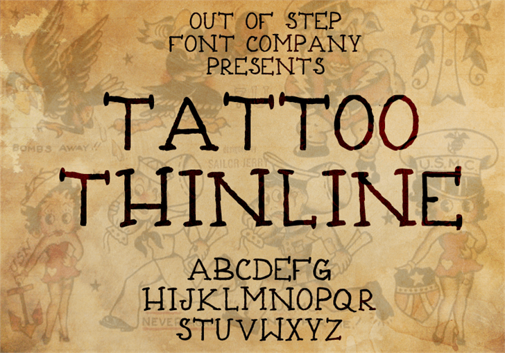 Tattoo Thinline Font handwriting text