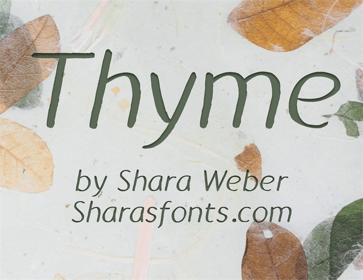 Thyme Font handwriting text
