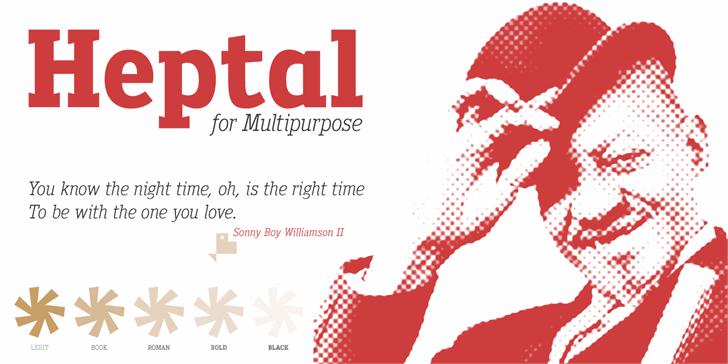Heptal Font text design