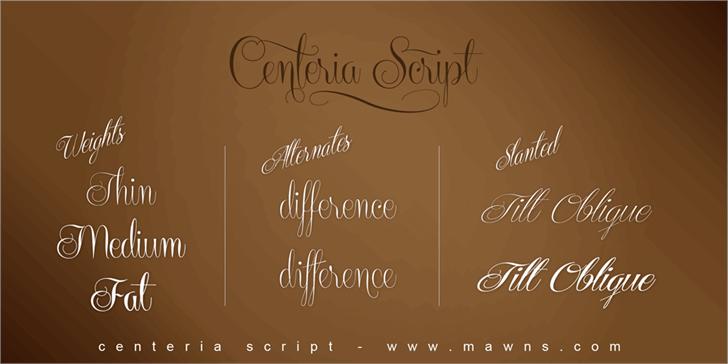 Centeria Script Demo Font handwriting design