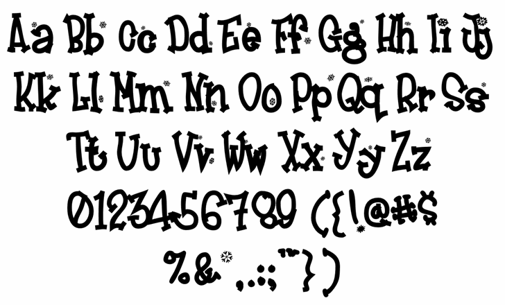 Frosty Font Letters Charmap