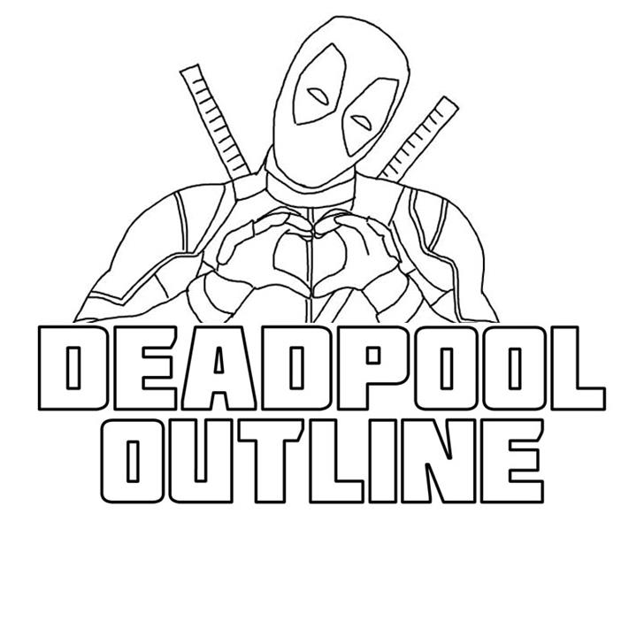 Deadpool Outline Font cartoon drawing