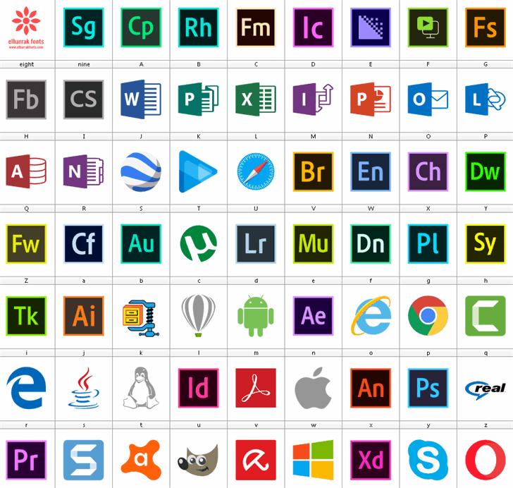 Font Logos Programs Font screenshot graphic
