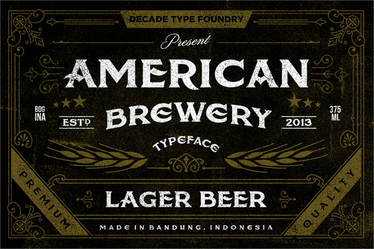 American Brewery Rough font by Decade Type Foundry