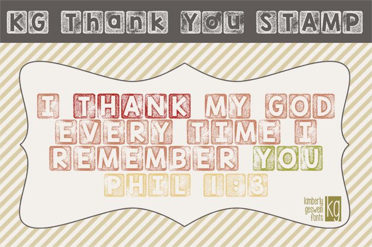 KG Thank You Stamp Font text design