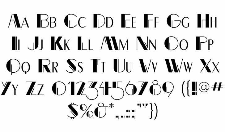 RightBankFLF Font Letters Charmap