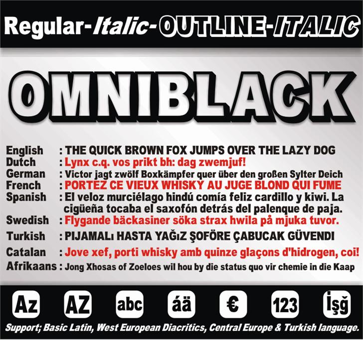 OMNIBLACK Font text poster