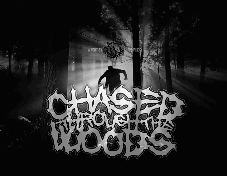 Chased Through The Woods Font drawing cartoon