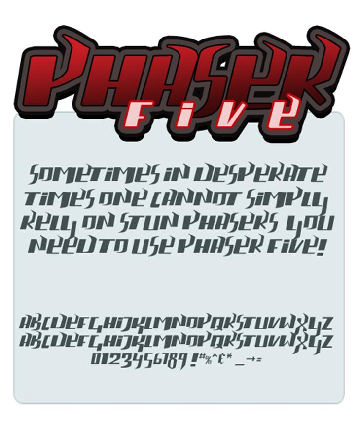 phaser five font by Press Gang Studios
