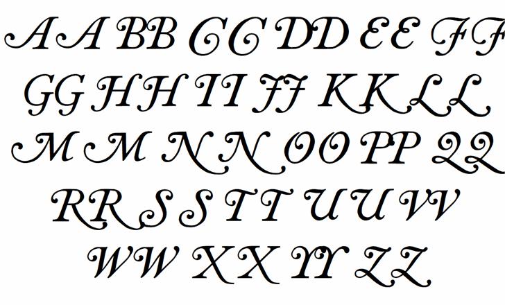 Antique roman swash Font Letters Charmap