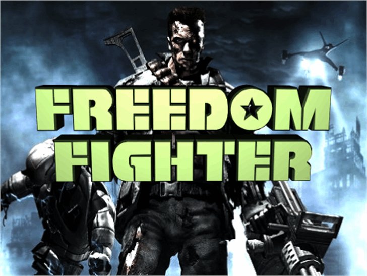 Freedom Fighter Font poster cartoon