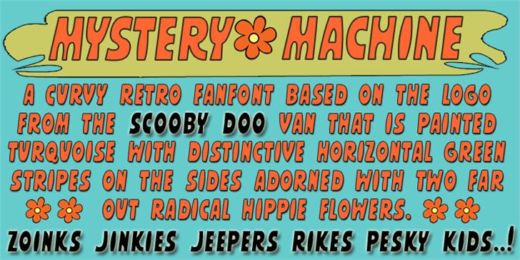 MYSTERY MACHINE Font screenshot poster