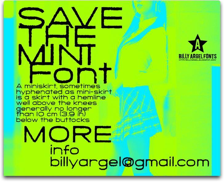 SAVE THE MINI Font screenshot poster