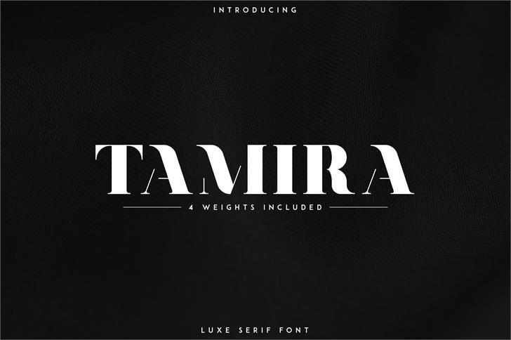 Tamira Font design screenshot