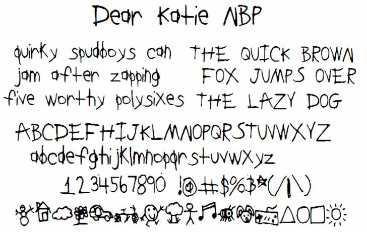 DearKatieNBP Font handwriting font