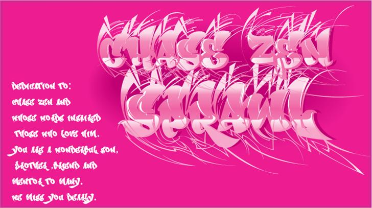 CHASE ZEN SPRAWL Font design pink