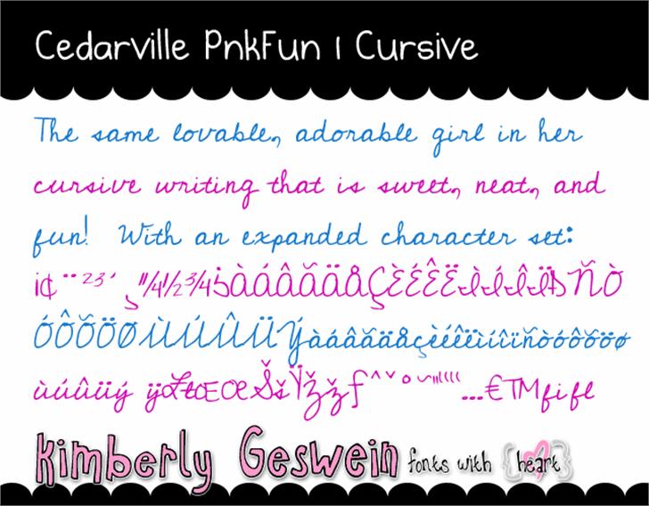 Cedarville Pnkfun1 Cursive Font handwriting text