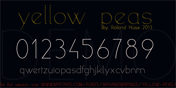 yellow peas demo Font text design