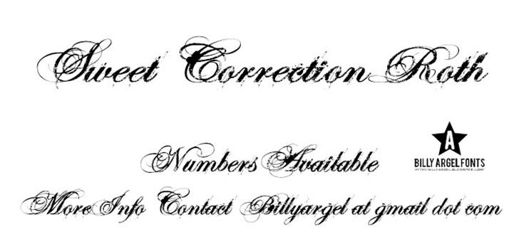 SWEETCORRECTION ROTH Font handwriting letter