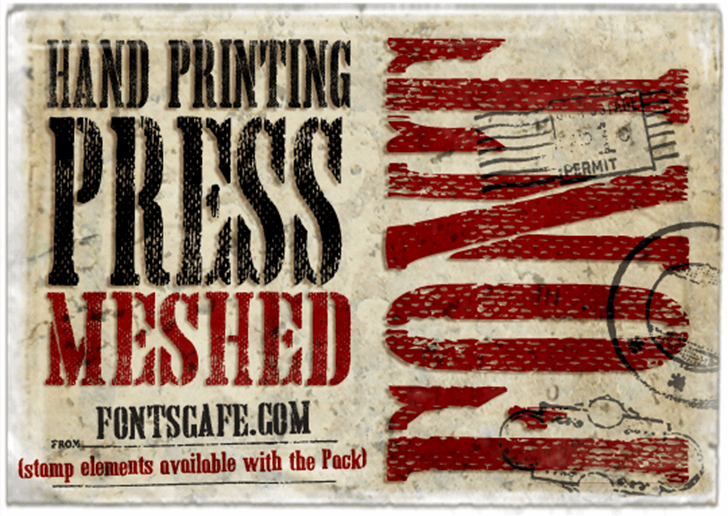 Hand Printing Press Meshed_demo Font poster text