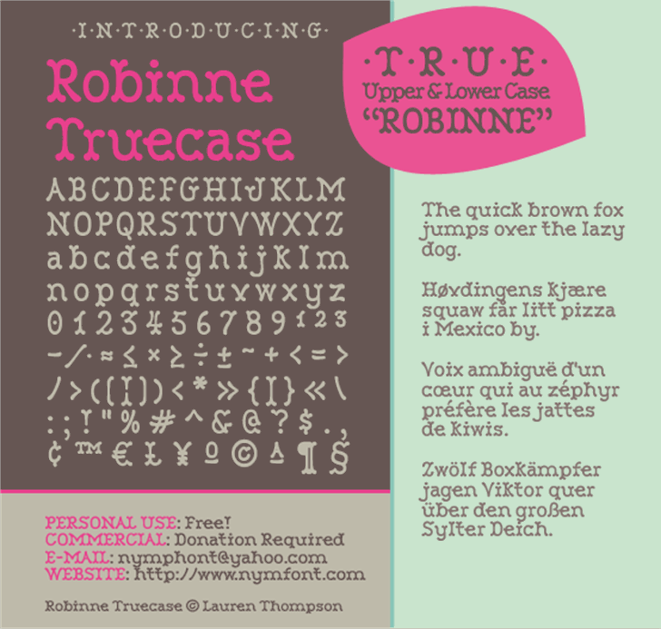 Robinne Truecase Font text menu