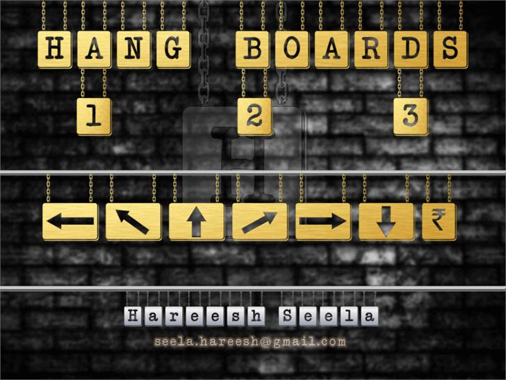 HANG BOARD 123 Font screenshot text