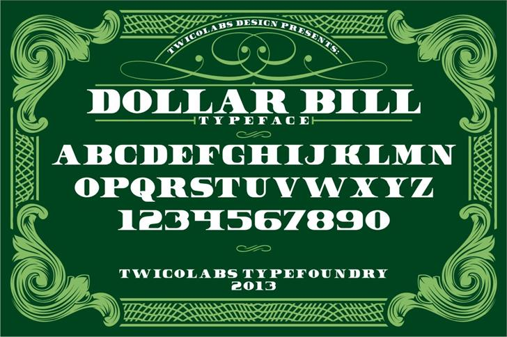 Dollar Bill Font design text
