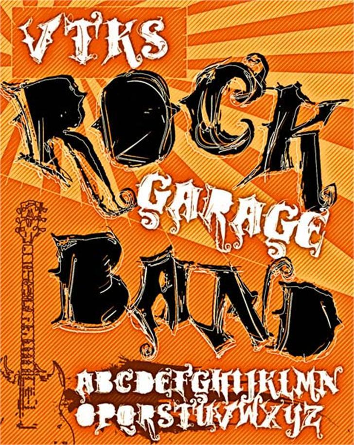VTKS ROCK GARAGE BAND Font cartoon text