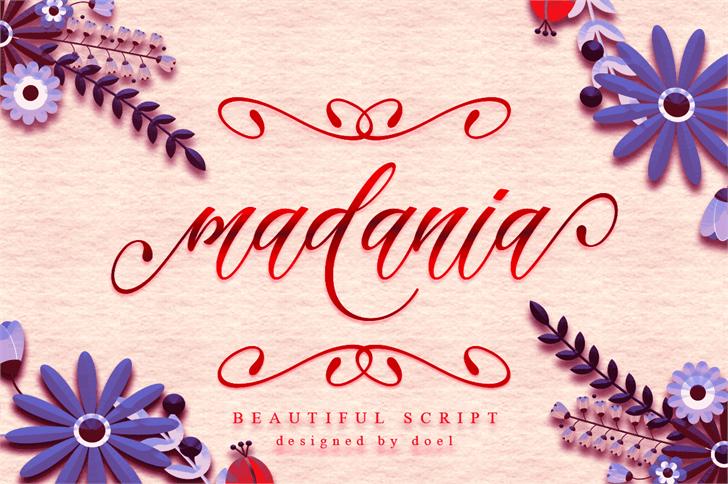 madania script Font handwriting design