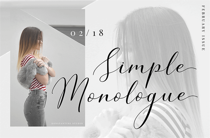 Simple Monologue DEMO Font handwriting design