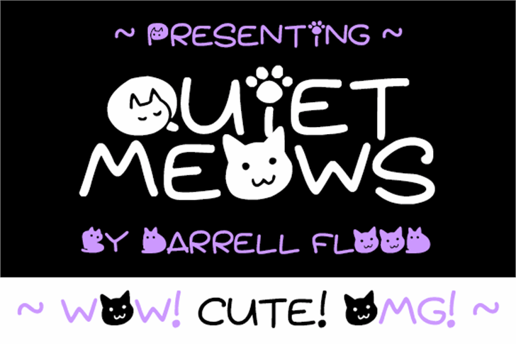 Quiet Meows Font cat cartoon