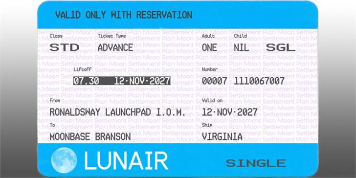 Ticketing Font text screenshot