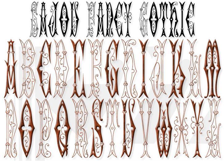 Sajou Fancy Gothic Font drawing sketch