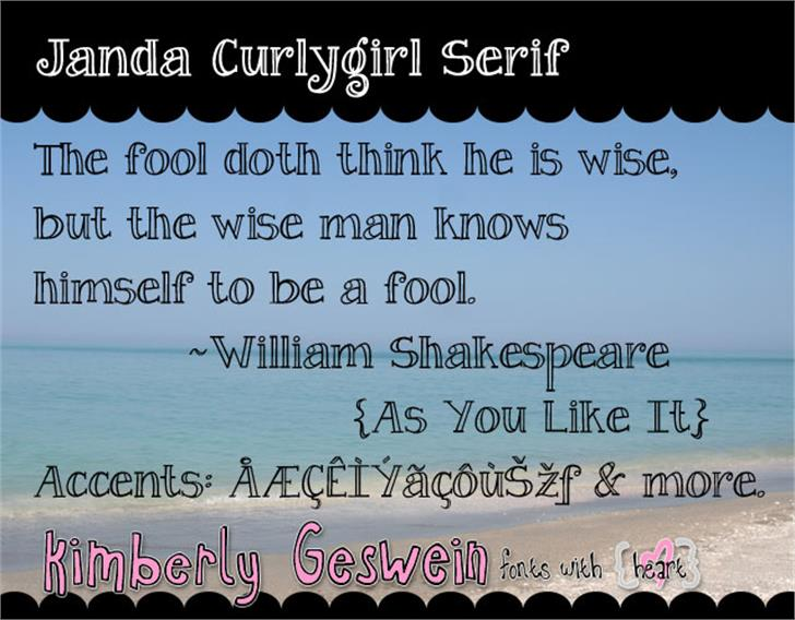 Janda Curlygirl Serif Font text screenshot